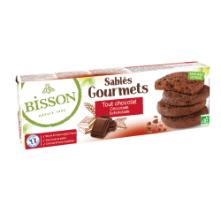 SABLES GOURMETS TOUT CHOCOLAT 150G | BISSON - BISCUITS/BARRES/CONFISERIES