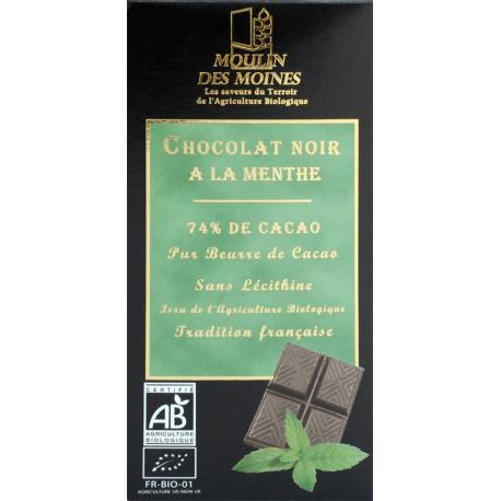 CHOCOLAT NOIR A LA MENTHE 74% DE CACAO 100G
