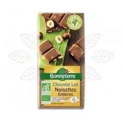 CHOCOLAT LAIT NOISETTES ENTIERES 100G CC