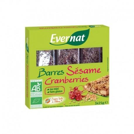 BARRES SESAME CRANBERRIES 75G